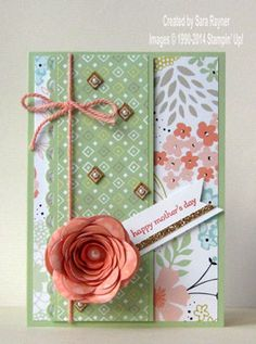 Sweet sorbet DSP and Accessory Pack and spiral flower die combined for this Mother's Day card using Stampin' Up! supplies. #stampinup
