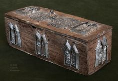 Historical Archive: Reliquary with Pilgrim/Secular Badges. Late 14th to early 15th century. Wooden box with tin alloy badges, 8 (with bead 10.3) x c.24.5 x 9.3 cm Found inside the Châsse Nôtre-Dame in 1856. Tournai, treasury of the Cathedral of Nôtre-Dame. Genevra Kornbluth
