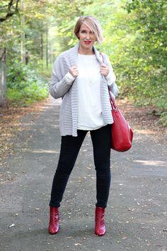 A fashion blog for women over 40 and mature women  Cardigan: neyo.Fashion Blouse: Samsoe Samsoe Pants + Booties: Zara Bag: Rochas