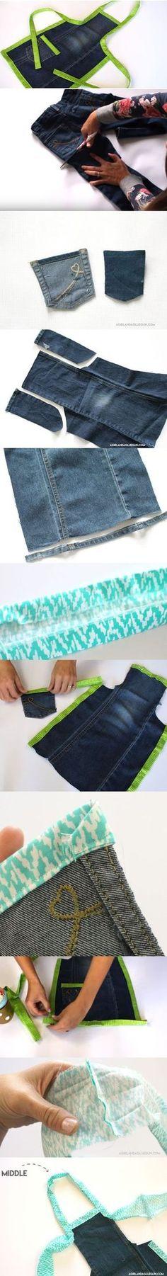 Descubra Como Fazer um Avental de Calça Jeans