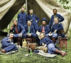 A colorized photo of George Armstrong Custer and soldiers during the American Civil War