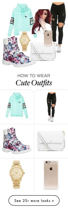 """""""cute school outfit!"""" by kylajanaebae12 on Polyvore featuring moda, Victoria's Secret, Timberland, Tory Burch, Michael Kors, Incase, women's clothing, women, female e woman"""