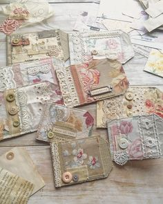 Sometimes a break from the usual is great to start the creative juices flowing again! Will be sharing some new creations later this week… Shabby Vintage, Upcycled Vintage, Vintage Crafts, Shabby Chic, Fabric Tags, Fabric Scraps, Petites Choses, Fabric Postcards, Warm Hug