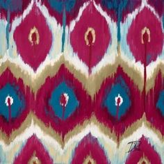 Posterazzi Red Tropical Ikat II Canvas Art - Patricia Pinto (24 x 24)