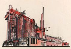 Constructivist ARchitecture & ART - 'composition on the theme of a chemical factory'