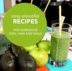 Glowing Skin Green Smoothie Healthy Living - Yahoo Shine click now for more. Kale Smoothie Recipes, Healthy Green Smoothies, Easy Smoothies, Juice Smoothie, Smoothie Drinks, Detox Drinks, Healthy Drinks, Healthy Snacks, Healthy Recipes