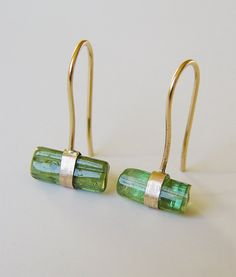 Tourmaline Hug Gold Earrings OOAK by friedasophie on Etsy