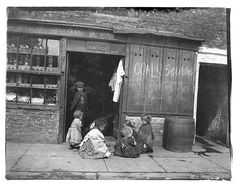 old century children photos - Shop front offering coals for sale, children at play, Sandgate, Edgar Lee, c 1892 Victorian Street, Victorian Life, Old Pictures, Old Photos, Vintage Photos, Newcastle, Vintage Photography, Street Photography, Victoria Reign