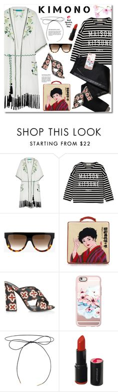 """Kimono"" by watereverysunday ❤ liked on Polyvore featuring Matthew Williamson, Maison Kitsuné, CÉLINE, TROA, Olympia Le-Tan, Gucci, Casetify, Lilou, Japonesque and stripes"