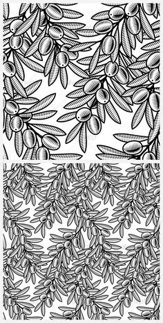 Seamless Olive Background Black And White #GraphicRiver Seamless olive background in woodcut style.