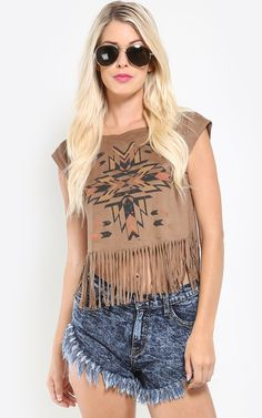Show off your boho style with this cute vegan suede fringe crop top. Pair it up with distressed jean shorts! I MakeMeChic.com