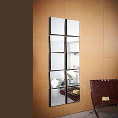 deknudt design collectie - Miroir Mural Blanc Simili Cuir Strass