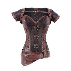 Asymmetric Buckled Zipper Design Corset (DEEP BROWN,XL) in Corset & Bustiers | DressLily.com
