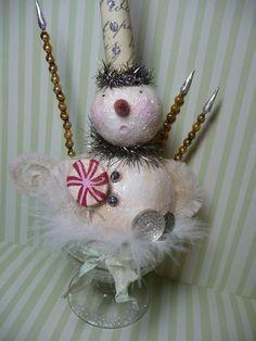 Winter Sundae - Vintage Style Snowman Christmas Folkk Art Decoration. $50.00, via Etsy.