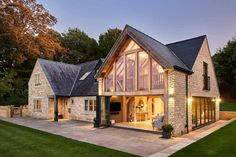 """""""The face glazed gable end allows a true representation in the structural frame inside to be shown from the exterior. This picture really shows how seamlessly a well considered extension can appear as House Extension Design, House Design, Cottage Extension, Extension Ideas, Oak Framed Buildings, Oak Frame House, Rustic Home Design, Rustic Home Exteriors, Dream House Exterior"""