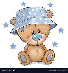 Cartoon Teddy Bear in panama hat isolated on a white background. Cute Cartoon Teddy Bear in panama hat isolated on a white background royalty free illustration Teddy Bear Cartoon, Baby Teddy Bear, Cute Teddy Bears, Tatty Teddy, Kids Cartoon Characters, Cartoon Kids, Cute Cartoon, Baby Animal Drawings, Cute Drawings
