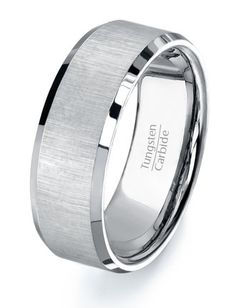 Tungsten Ring Mens Wedding Band, High Quality Tungsten Carbide Flat with Satin Finish Center on Etsy, $79.95