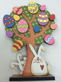 Easter tree vector dxf cdr svg for cnc vector file digital vector art cnc cnc file cnc pattern cnc cut laser cut ideas for spring tree crafts christmas decorations tree Easter Arts And Crafts, Bunny Crafts, Spring Crafts, Easter Tree Decorations, Easter Wreaths, Easter Activities, Tree Crafts, Easter Bunny, Easter Cake