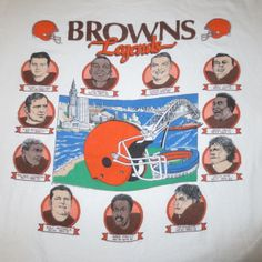 VINTAGE 90S 1990 CLEVELAND BROWNS LEGENDS CARICATURE NFL FOOTBALL T SHIRT MEDIUM
