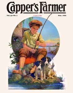 Capper's Farmer 1933 Boy fishing with a stick and a cork and a hook pulls a small fish out of the lake, fascinating his dogs. Artist: J. W. Wilkinson
