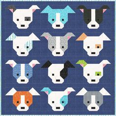It's true, dogs and quilts portray a scene less typical than cats and quilts. Lorna, of Sew Fresh Quilts, addresses this gap w… Dog Quilts, Cute Quilts, Animal Quilts, Baby Quilts, Farm Quilt, Quilt Block Patterns, Pattern Blocks, Quilt Blocks, Patchwork Patterns