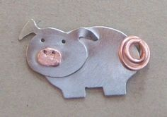 Sterling silver pig brooch with copper snout and curly tail.  Handcrafted by me, Jewellery By Silvana