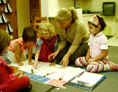 Kathryn Rhodes and primary (preschool) students at Mountaineer Montessori School.
