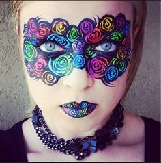colorful flower mask. face painting.
