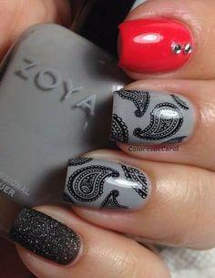 Black and Grey Paisley Print Nail Art Manicure Fabulous Nails, Gorgeous Nails, Love Nails, Pretty Nails, Em Nails, Gray Nails, Silver Nails, French Nails Glitter, Nail Art For Girls