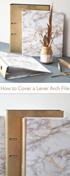 How to update your lever arch files with marble patterned sticky back plastic || by MiaFleur