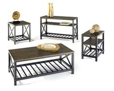 Oak Hill Transitional Wire Brushed Oak Rectangle Coffee Table Set