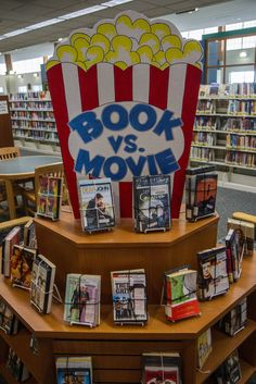 Book versus Movie - - Lester Public Library, Two Rivers, Wisconsin. School Library Decor, Middle School Libraries, Elementary School Library, Library Themes, Library Work, Library Boards, Library Activities, Library Ideas, Public Libraries