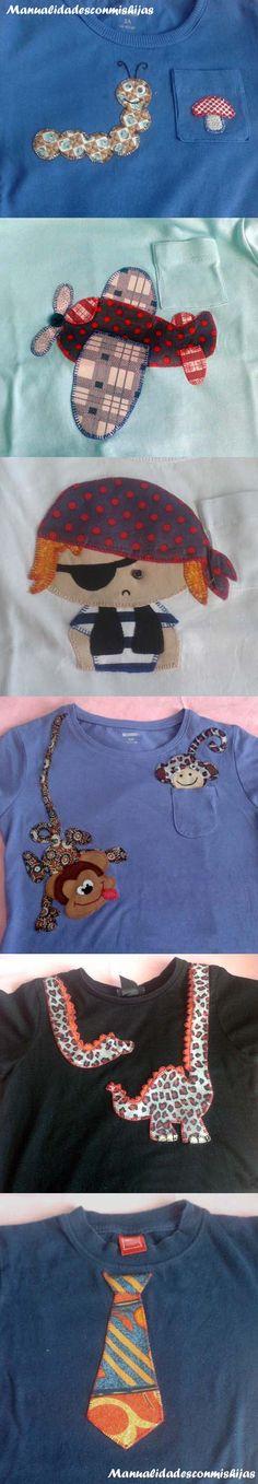 Manualidadesconmishijas: Camisetas de niño o bebé de aplicaciones de patchwork para tapar manchas o rotos