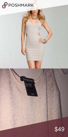 NWOT Shimmering Sexy mini cutout dress Bebe size S ✔️NWOT ✔️I could not take a pic that does this shimmery material justice!! JUST BEAUTIFUL and perfect for vegas, a night out, bachelorette, NYE etc!! ✔️So sad to let go, never wore it because im XXS and the dress is not tight and flattering on me 😭😫 Extremely sexy ✨✨✨🥂 bebe Dresses Mini