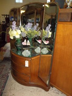 Rare Art Deco Dresser with Beveled Mirrors  595.00 at The Bygone Shoppe Vacaville Ca  See us on FB