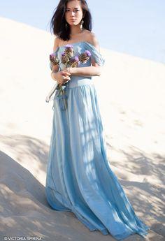 Kimon / Blue wedding dress alternative wedding dress Chiffon wedding dress Romantic wedding dress Bohemian wedding dress colour wedding