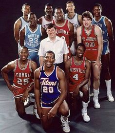 1984 Playboy All-America Team Front row: James Banks - Georgia, Leon Wood… Basketball Pictures, Basketball Legends, Football And Basketball, College Basketball, Basketball Players, Sports Pictures, Basketball Jones, Ncaa College, Legends Football