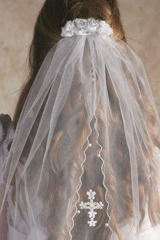 Satin roses, clear stone centers with Cross applique Pearl veil - Comb Style