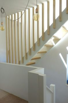 balustrades and building regs Open Riser Staircase and Full height Plywood Spindles First floor stairs to loft conversion.Open Riser Staircase and Full height Plywood Spindles First floor stairs to loft conversion. Loft Staircase, Attic Stairs, Basement Stairs, House Stairs, Staircase Design, Staircase Banister Ideas, Banisters, Stair Railing, Loft Conversion Stairs