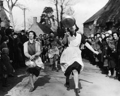"THE OLNEY'S SHROVE TUESDAY PANCAKE RACE     The Pancake Race is one of the most unusual, with a history going back more than 500 years.  Unlike some other races, where sports figures, celebrities and even MPs participate, the Olney Race is limited to ""housewives and young ladies of the town"". They must have lived in Olney for at least three months and be at least 18 years old."