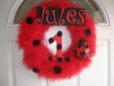 Lady Bug Birthday Wreath