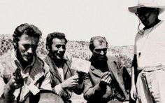 Clint Eastwood, Eli Wallach, Lee Van Cleef & Sergio Leone filming 'The Good, the Bad and the Ugly' (1966).