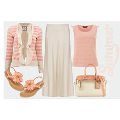 """inexpensive maxi skirt outfit in coral and ivory"" by dixiegirl-dixie on Polyvore"