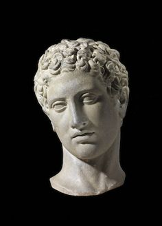 Marble head of a youth, after a Polycletus Greek original of the 5th century BCE…