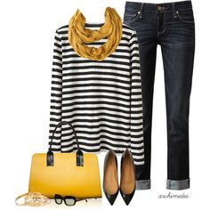 Mustard and black with denim