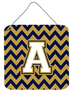 Letter A Chevron Navy Blue and Gold Wall or Door Hanging Prints CJ1057-ADS66