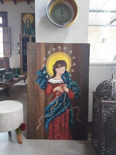 Virgin Mary Art, Blessed Virgin Mary, Angel Artwork, Abstract Face Art, Holy Mary, Mexican Art, Sacred Art, Religious Art, Creative Art