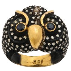 Sapphire Diamond Rhodium Silver Gold Owl Cocktail Ring   From a unique collection of vintage cocktail rings at https://www.1stdibs.com/jewelry/rings/cocktail-rings/