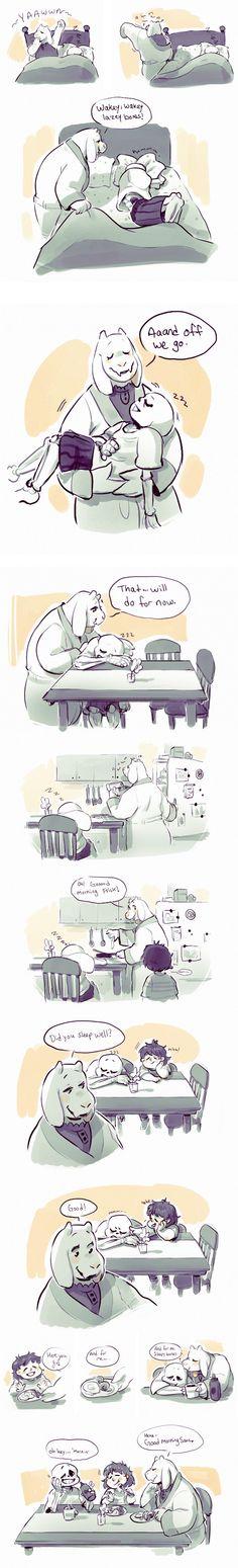 Toriel and Sans - comic - http://moofrog.tumblr.com/post/133315278985/the-morning-ritual