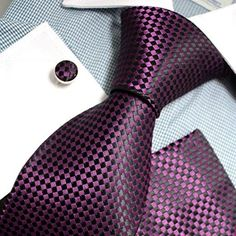Silk Necktie Set Color: Purple and Black Length, Width Matching cufflinks and pocket square Sharp Dressed Man, Well Dressed Men, Tie And Pocket Square, Pocket Squares, Cufflink Set, Suit And Tie, Mens Shirt And Tie, Purple And Black, Men Dress